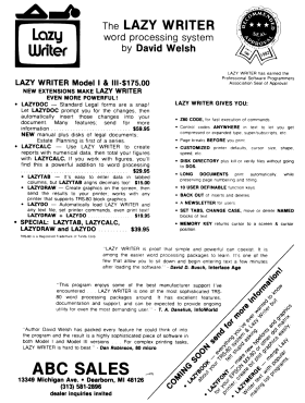 Lazy Writer advertisement from 80 Microcomputing