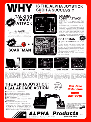 An advertisement for the Alpha Joystick published in 80 Microcomputing