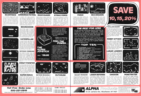 Two-page advertisement published in 80 Micro for arcade games sold by Alpha Products