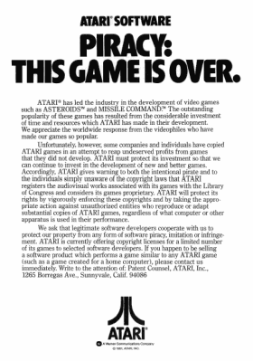 Atari piracy advertisement