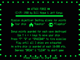Instructions screen in Attack Force