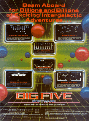 Advertisement published in 80 Microcomputing for arcade games sold by Big Five Software