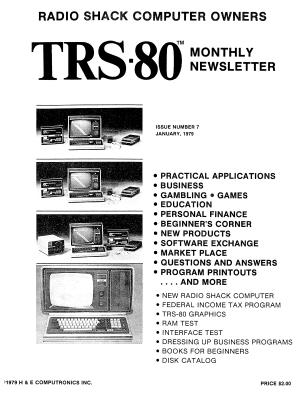 H&E Computronics TRS-80 Monthly Newsletter