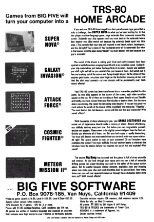 Advertisement for Cosmic Fighter in 80 Microcomputing