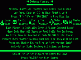 Instructions screen for Defense Command