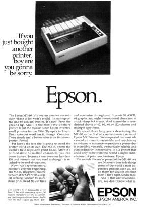 Epson MX-80 advertisement from October 1980 BYTE