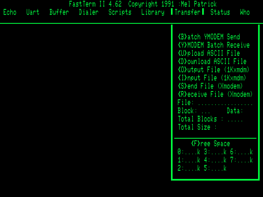 FastTerm Transfer menu
