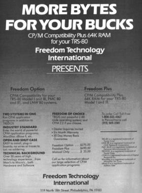 Freedom Technology advertisement from 80-U.S. Journal