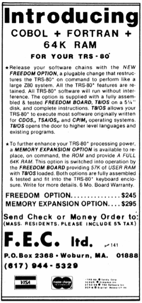 FEC advertisement from 80 Microcomputing