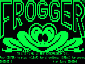 Title screen for Frogger