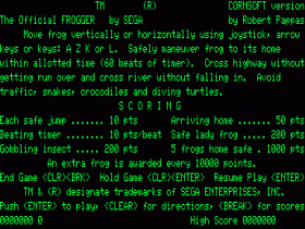 Instructions screen for Frogger