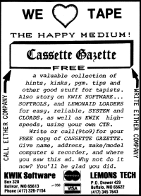 Cassette Gazette advertisement