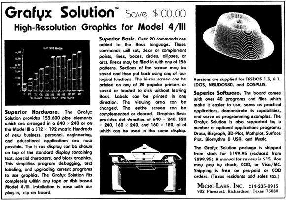 Micro-Labs advertisement for the Model 4 Grafyx Solution