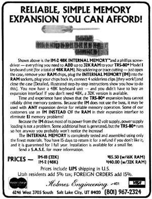 Holmes Internal Memory advertisement