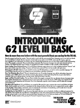 Level III BASIC advertisement