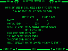 Instructions screen in Meteor Mission