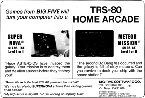 Advertisement for Meteor Mission published in 80 Microcomputing