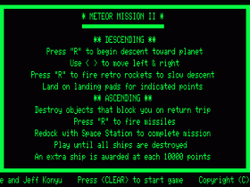 Instructions screen for Meteor Mission 2