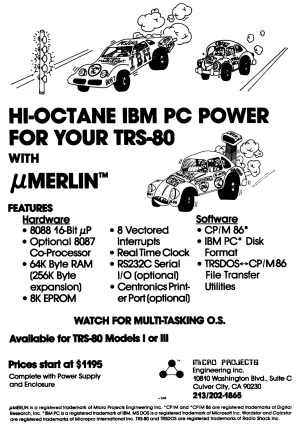 MicroMerlin advertisement from 80 Micro