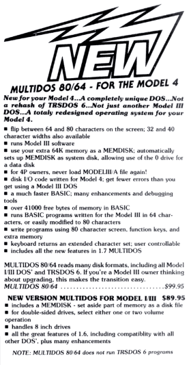 MULTIDOS 80/64 advertisement from 80 Micro