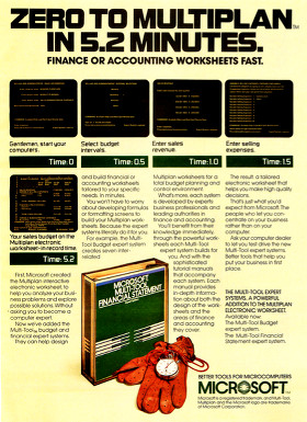 Microsoft Multiplan advertisement from BYTE