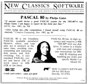 New Classics Software advertisement for Pascal 80