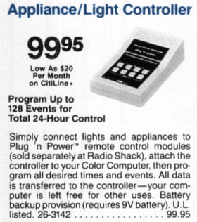TRS-80 Color Computer Appliance/Light Controller