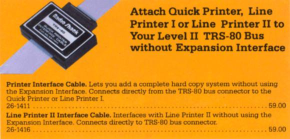Printer Interfaces from Radio Shack catalog