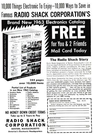 Radio Shack advertisement from 1962
