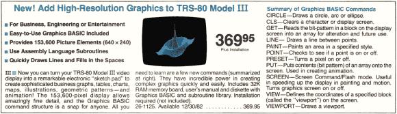 Model III high-resolution board from a Radio Shack catalog