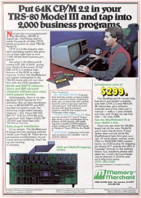 Memory Merchant advertisement for the Shuffleboard III