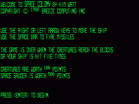 Space Colony high-resolution instructions screen
