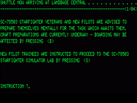 Startup screen in Starfighter