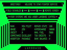 Landbase screen in Starfighter