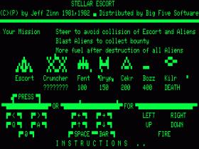 Instructions screen for Stellar Escort