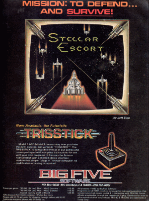 Advertisement for Stellar Escort published in 80 Microcomputing