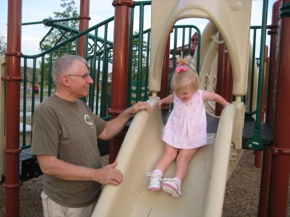 Jim Stutsman with his granddaughter