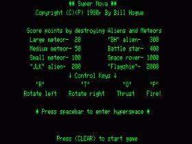 Instructions screen for Super Nova
