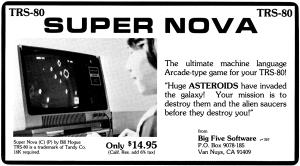 Advertisement for Super Nova published in 80 Microcomputing