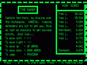 Instructions screen of Time Runner