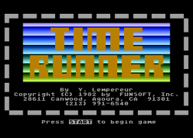 Title screen of Time Runner on the Atari