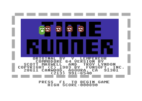 Title screen of Timer Runner on the Commodore 64