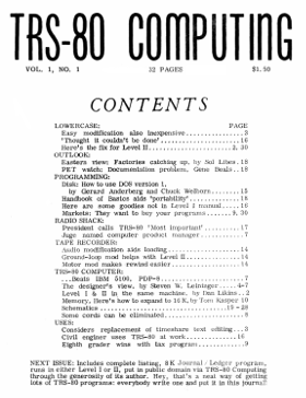 Cover of the first issue of TRS-80 Computing