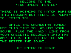 Opening screen of TRS-Opera